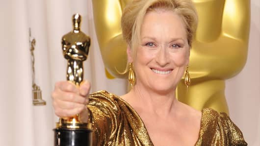 Actress Meryl Streep poses in the press room at the 84th Annual Academy Awards.