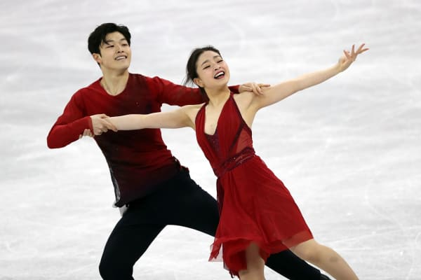 Maia and Alex Shibutani of the United States compete in the ice dance free dance at the 2018 Winter Olympics games.