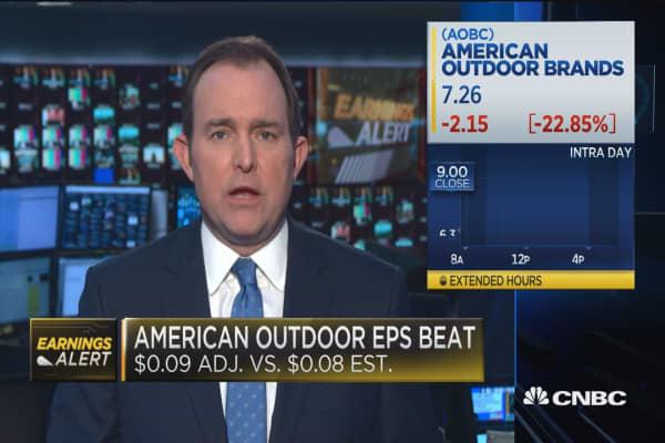 American Outdoor Brands reopens trading, plummets over 20 percent