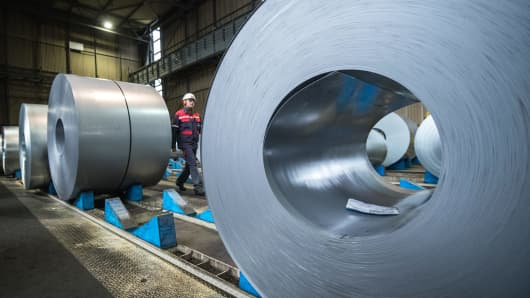 A view of the storage area of galvanized coiled steel at ThyssenKrupp steelworks on January 17, 2018 in Duisburg, Germany.