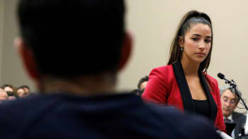 Victim and Olympic gold medalist Aly Raisman speaks at the sentencing hearing for Larry Nassar, (R) a former team USA Gymnastics doctor who pleaded guilty in November 2017 to sexual assault charges, in Lansing, Michigan, January 19, 2018.
