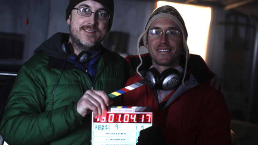 "Director Julius Ramsay and writer Alston Ramsay on the set of ""MIDNIGHTERS."""