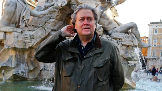 President Donald Trump's former chief strategist, Steve Bannon, poses at Piazza Navona in Rome, March 2, 2018.