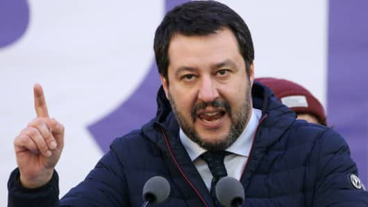 Italian Northern League leader Matteo Salvini speaks during a political rally in Milan, Italy February 24, 2018.