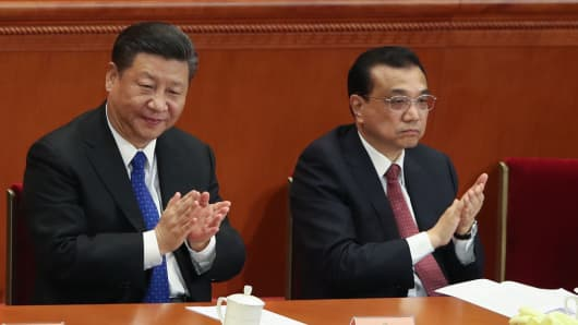 Chinese President Xi Jinping and Chinese Premier Li Keqiang at The Great Hall of People on March 3, 2018 in Beijing, China.