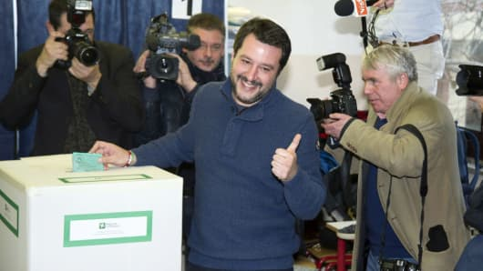Leader of Lega party Matteo Salvini votes in the Italian General Election at a polling station on March 4, 2018 in Milan, Italy.