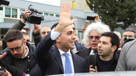 The leader and premier candidate of the Movimento 5 Stelle Luigi Di Maio in Pomigliano D'Arco during the voting operations.