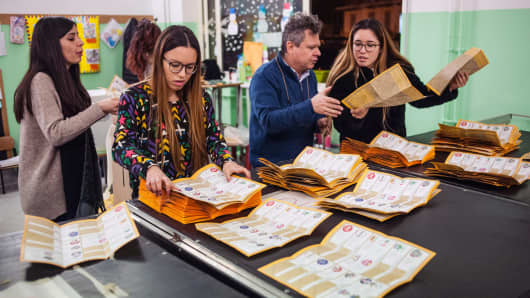 Paper ballots are counted after the end of voting in the Italian general elections on March 4, 2018 in Naples, Italy.