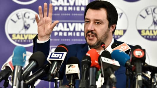 Lega far right party leader Matteo Salvini gestures during a press conference held at the Lega headquarter in Milan on March 5, 2018 ahead of the Italy's general election results. A surge for populist and far-right parties in Italy's weekend election could result in a hung parliament with a right-wing alliance likely to win the most votes but no majority, AFP reports.
