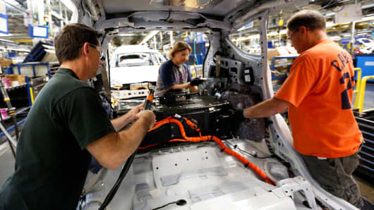 Ford workers at the company's Michigan Assembly Plant in Wayne, Michigan.