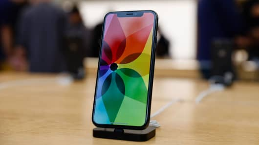 The new iPhone X is seen in the Apple Store Union Square.