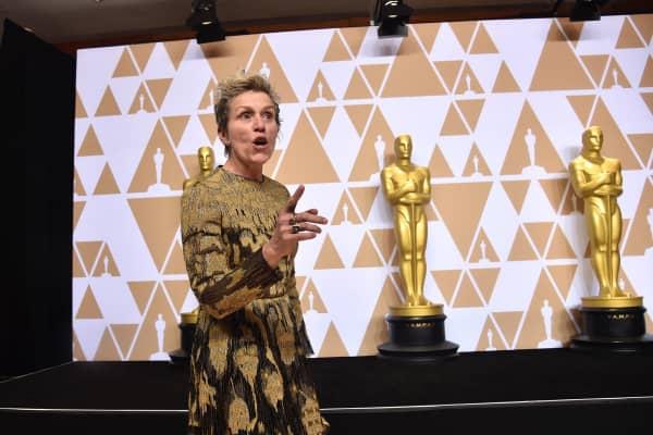 Actor Frances McDormand at the 2018 Oscars