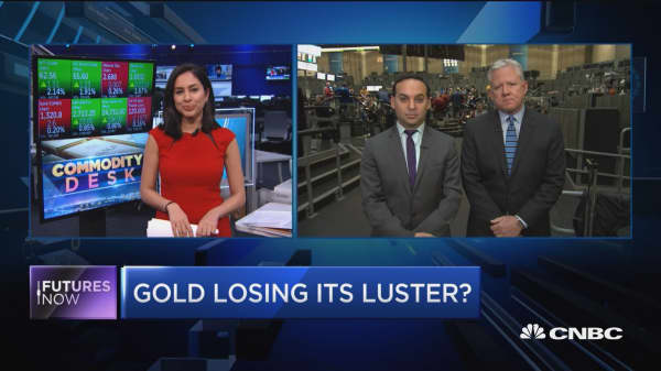 Gold falls coming off two straight weeks of losses