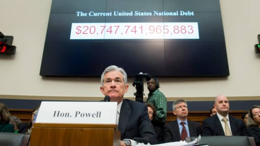 Jerome Powell, Chairman of the Federal Reserve Board, testifies during a House Financial Services Committee hearing on Capitol Hill in Washington, DC, February 27, 2018.