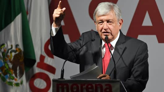 Mexico's National Regeneration Movement (MORENA) presidential candidate, Andres Manuel Lopez Obrador.