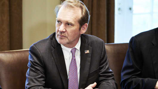 Tim Timken, president and chief executive officer of TimkenSteel, listens during a meeting with U.S. President Donald Trump and steel and aluminum executives in Washington, D.C.