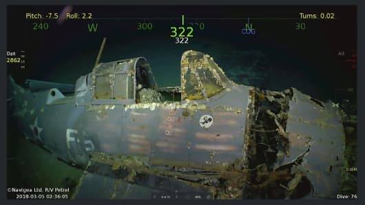 One of the 11 planes found with the USS Lexington, a US aircraft carrier which sank during World War II.