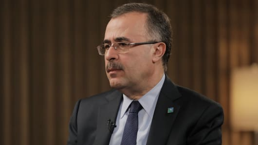 Amin Nasser, CEO of Aramco speaking at the 2018 IHS CERAWeek in Houston, TX.