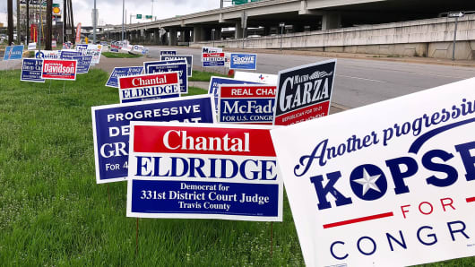 Political campaign signs stand outside a polling station in Austin, Texas, United States March 5, 2018 ahead of the first statewide U.S. primary, which will be held in Texas.
