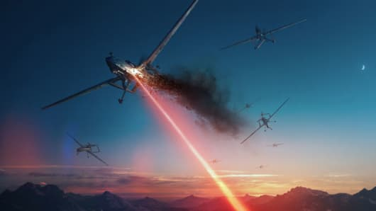 Concept art of a laser weapon attack.