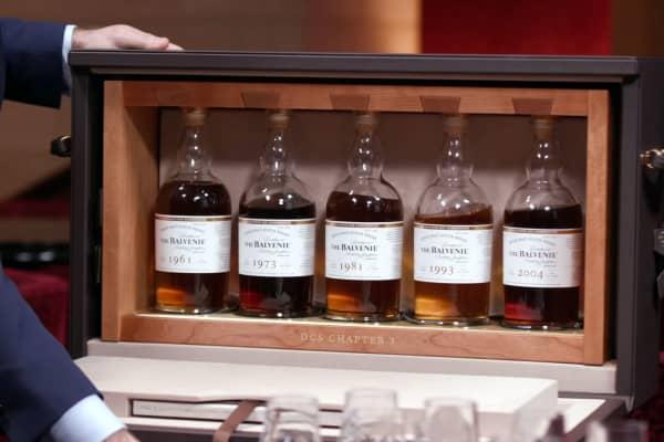 Balvenie Whiskey flight in leather case.