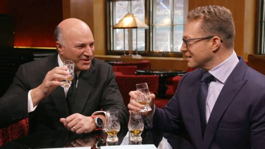 Shark Tanks Kevin O'Leary and CNBC's Robert Frank sample Balvenie Whiskey.