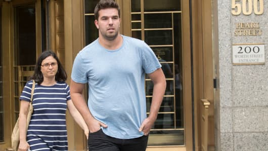 Billy McFarland, right, leaves federal court with his attorney Sabrina Shroff after his arraignment, Saturday, July 1, 2017, in New York.