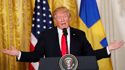 President Donald Trump addresses a joint news conference with Sweden's Prime Minister Stefan Lofven in the East Room of the White House in Washington, March 6, 2018.