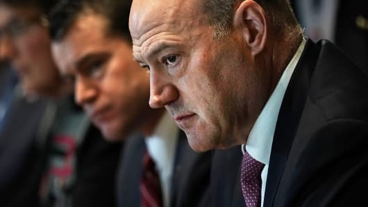 Director of the National Economic Council Gary Cohn listens during a meeting between President Donald Trump and congressional members in the Cabinet Room of the White House February 13, 2018 in Washington, DC.