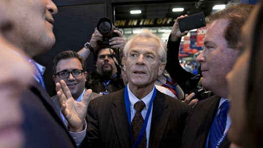 Peter Navarro, center, during the 2016 U.S. presidential election.