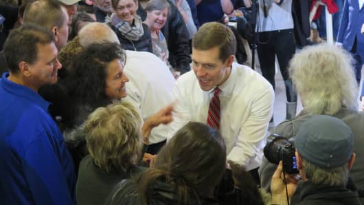 Democratic congressional candidate Conor Lamb speaks to supporters at a campaign rally on March 6, 2018.