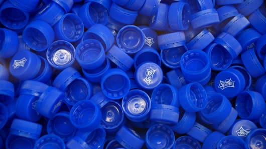 Sprite plastic bottle caps.