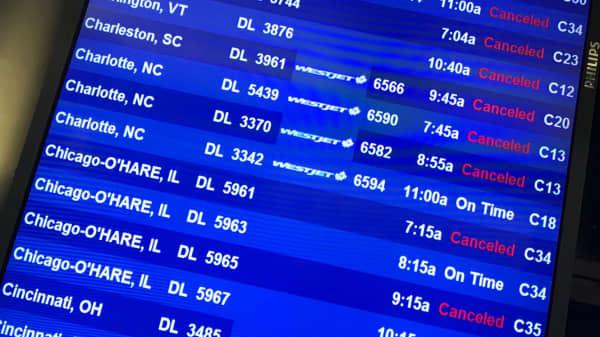 Flight delays at LaGuardia International Airport as Winter Storm Quinn barrels down on the northeast U.S. on March 7th, 2018.