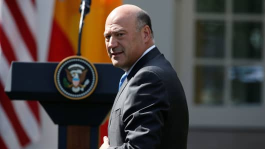 Director of the National Economic Council Gary Cohn arrives before a joint news conference of President Donald Trump and Spanish Prime Minister Mariano Rajoy at the White House, September 26, 2017.