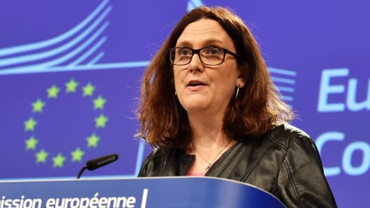 European Commissioner Cecilia Malmstrom holds a news conference in Brussels, Belgium March 7, 2018.