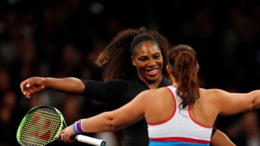 Marion Bartol hugs Serena Williams after their TieBreak Tens tennis match at Madison Square Garden.