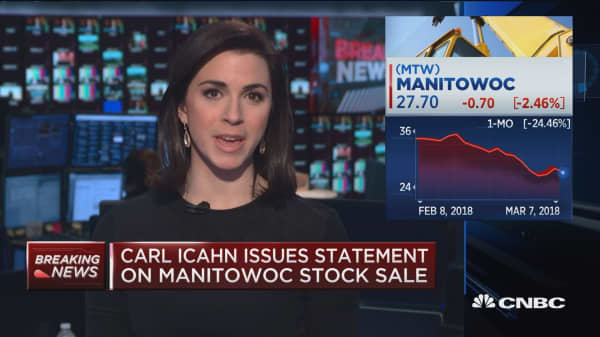 Billionaire Carl Icahn issues statement on Manitowoc stock sale
