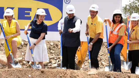 Then - CEO of Ikea India Juvencio Maeztu (3R) with Maharashtra chief minister Devendra Fadnavis (3L) during the groundbreaking ceremony of Ikea's store, at Turbhe, on May 18, 2017 in Navi Mumbai, India.