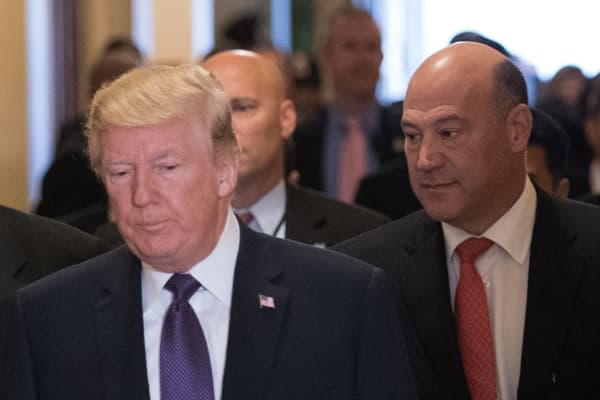 President Donald Trump and Director of the National Economic Council Gary Cohn arrives for a meeting with House Republicans at the US Capitol on November 16, 2017.