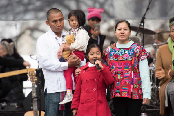 Sophie Cruz and her family at the 2017 Women's March.