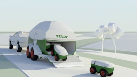 AGCO Fendt artwork of its future small robot swarm technology, Xaver. The field robots are designed to perform autonomous, high-precision seeding.