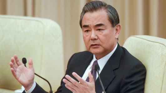 Chinese Foreign Minister Wang Yi attends a meeting at the Great Hall of the People on October 19, 2017 in Beijing, China.