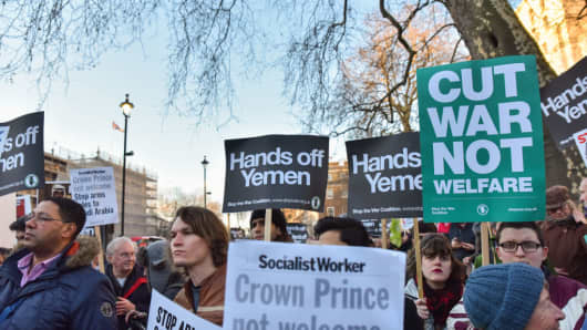 Protesters opposite Downing Street organised by Stop the War Coalition on March 7, 2018.