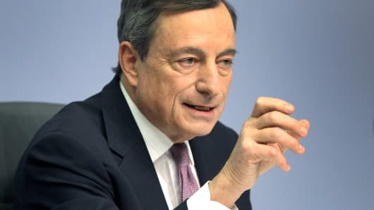 Mario Draghi, President of the European Central Bank (ECB) addresses a press conference following the meeting of the ECB's Governing Council in Frankfurt am Main, western Germany, on January 25, 2018.