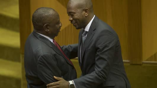 Cyril Ramaphosa is congratulated by Democratic Alliance leader Mmusi Maimane after being sworn in as the new president of the Republic of South Africa on February 15, 2018, in Cape Town, South Africa.
