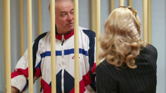 Pictured in this file image dated August 9, 2006, is retired colonel Sergei Skripal during a hearing at the Moscow District Court.
