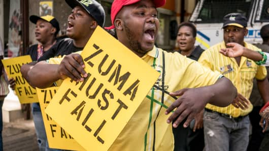 Protesters for the removal from office of former South African President Jacob Zuma in Johannesburg, South Africa, on February 5, 2018.