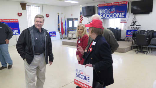Rick Saccone meeting with supporters at a rally on Monday in Waynesburg, PA.