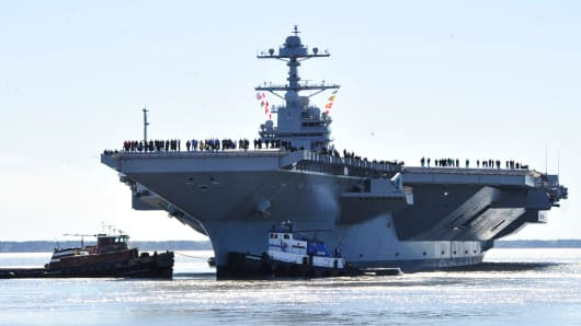 The aircraft carrier Pre-Commissioning Unit (PCU) Gerald R. Ford (CVN 78) departs Huntington Ingalls Industries Newport News Shipbuilding for builder's sea trials off the U.S. East Coast on April 8, 2017 in Newport News, Virginia.
