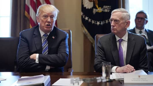 President Donald Trump, with Defense Secretary James Mattis, speaks during a Cabinet meeting in the Cabinet Room of the White House on March 8, 2018 in Washington, DC.
